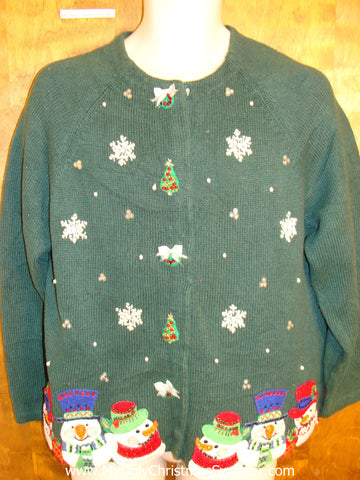 Funny Green Christmas Sweater with Snowman Clan