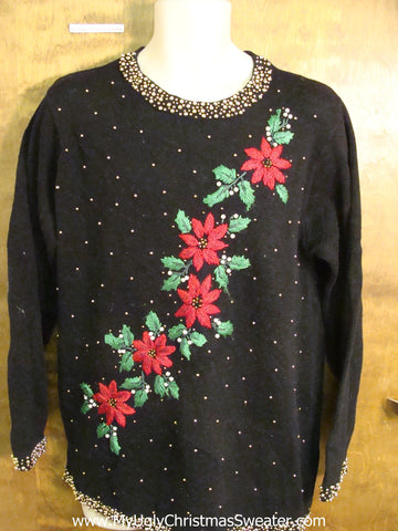 Funny Cheap Poinsettia Themed Christmas Sweater