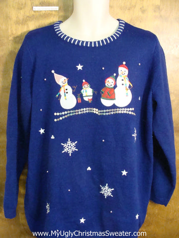 Bright Blue Funny Christmas Sweater with Snowmen
