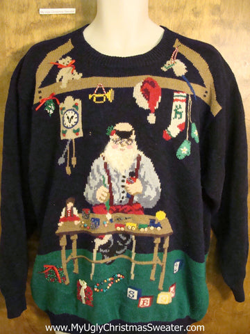 Rare Santas Workshop with Dog Funny Christmas Sweater