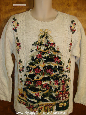 Horrible Huge Tree 80s Funny Christmas Sweater