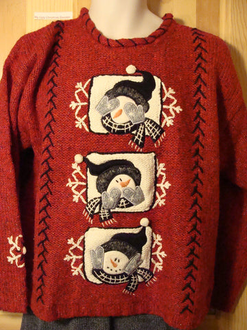 Tacky Ugly Christmas Sweater 'See No Evil, Speak No Evil, Hear No Evil' Snowmen 2sided Decorations (f438)
