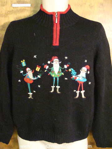 Three Cute Elves Funny Christmas Sweater
