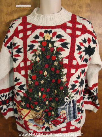Lattice Pattern with 80s Tree Funny Christmas Sweater