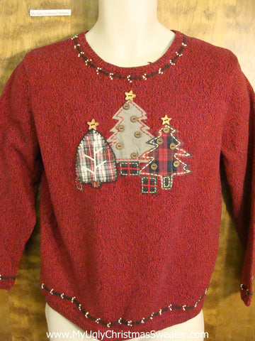Three Tacky Trees Plaid Themed Funny Christmas Sweater