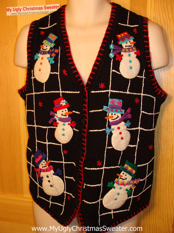 Tacky Ugly Christmas Sweater Vest with Six Happy Snowmen Floating in a Black and White Grid of Festive Fun (f43)