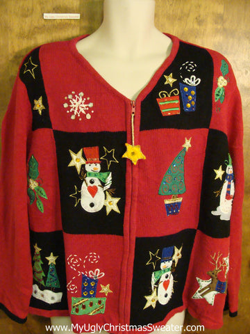 Cute Xmas Sweater with Padded Shoulders