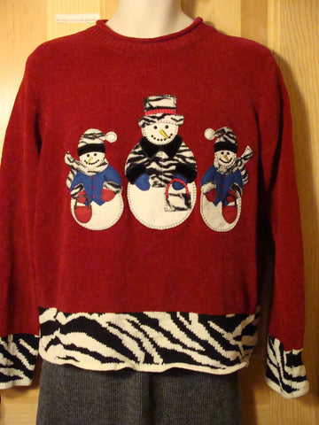 Tacky Ugly Christmas Sweater with Zebra Accented Snowmen on Front and Back (f440)