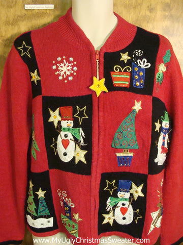 Cute Snowman Patchwork Xmas Sweater