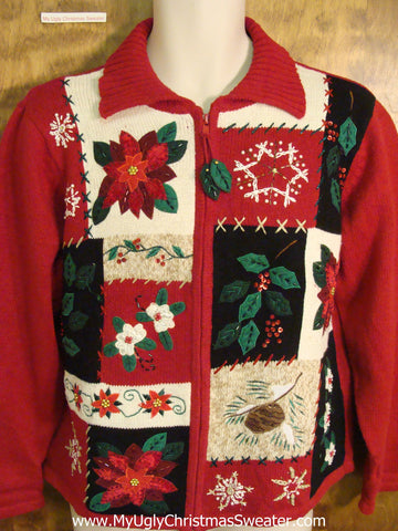 Cute Cheap Xmas Sweater with Poinsettias