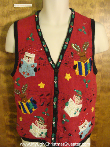 Carolling Elves Cute Xmas Sweater Vest
