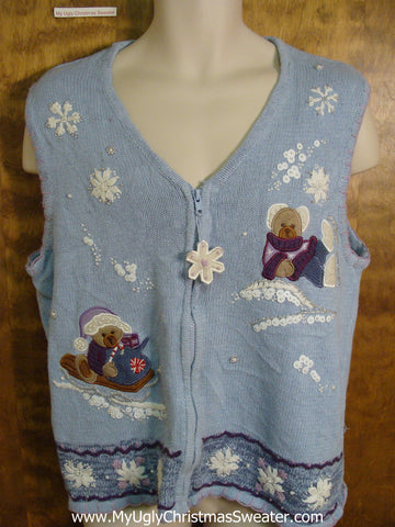 Baby Blue Cute Xmas Sweater Vest