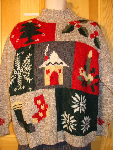Tacky Ugly Christmas Sweater Pullover with Candle, Snowflakes, Stocking, Tree and Ivy (f441)