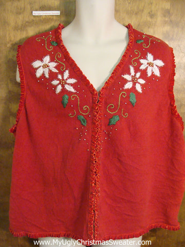 Cheap Poinsettias Cute Xmas Sweater Vest