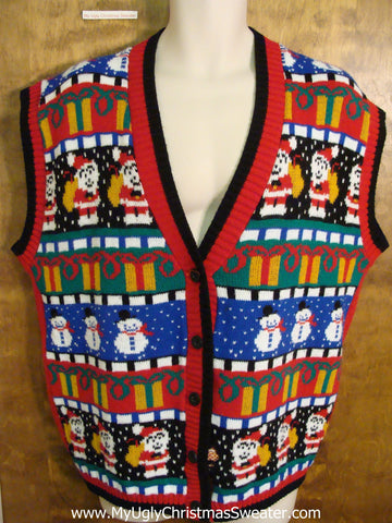 BEST 80s Acrylic Colorful Cute Xmas Sweater Vest