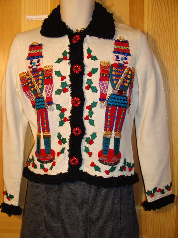 Tacky Ugly Christmas Sweater Bold Festive Nutcrackers and Fur Collar and Cuffs (f442)