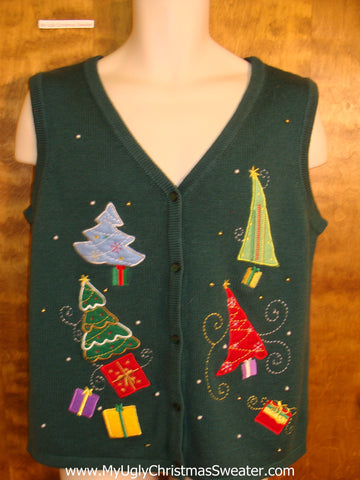 Cute Xmas Sweater Vest with Colorful Trees