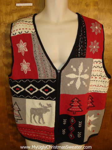 Classic Patchwork Reindeer Cute Xmas Sweater Vest