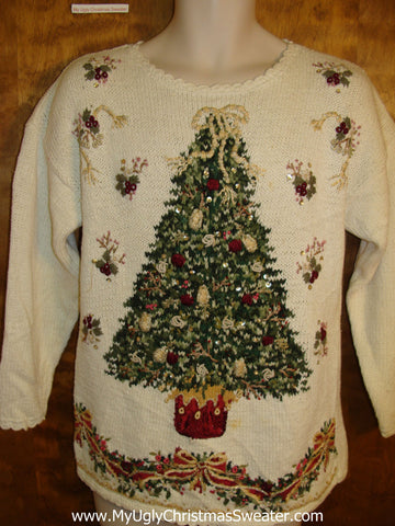 Ivory Pullover with a Huge Festive Tree Cute Xmas Sweater