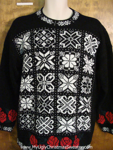 Vintage Style Classic Snowflakes Cute Xmas Sweater