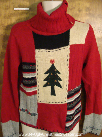 Cute Tneck Festive Red Xmas Sweater