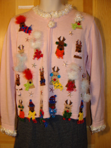 Tacky Pink Ugly Christmas Sweater with Tons of Reindeer with 3D Fluffy Accents (f444)