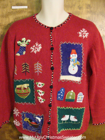 Cute Red Xmas Sweater with Snowman and Ice Skates