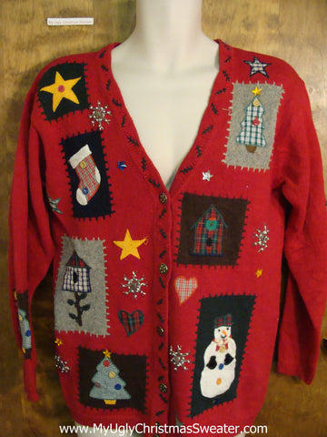 Cute Crafty Patchwork Red Xmas Sweater