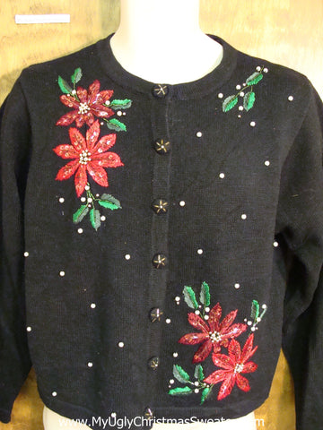 Cheap Cute Xmas Sweater with Poinsettias