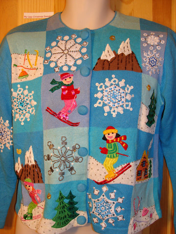 Tacky Ugly Christmas Sweater with Festive Blue Winter Wonderland with Snowflakes and Skiers on Front and Back (f445)