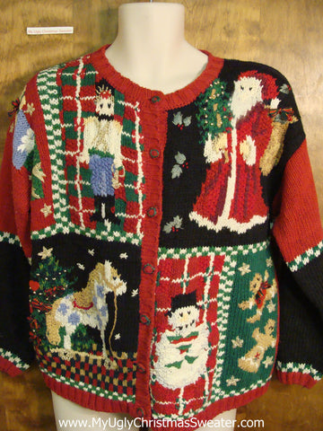 Fun 80s Cute Xmas Sweater with Nutcracker and Horse