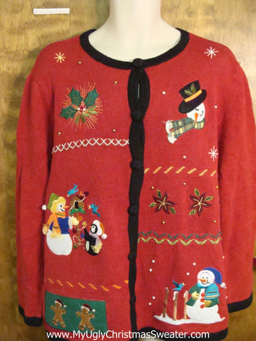 Cute Red and Black Xmas Sweater with Snowmen