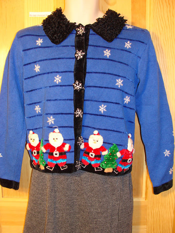 Tacky Ugly Christmas Sweater Awesome Blue Winter Wonderland with Festive Santas (f446)