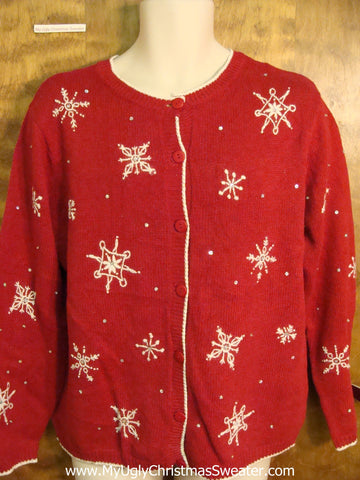 Cute Snowflakes Red Xmas Sweater