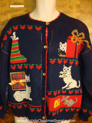 Crazy Cat Lady 2sided  80s Cute Xmas Sweater