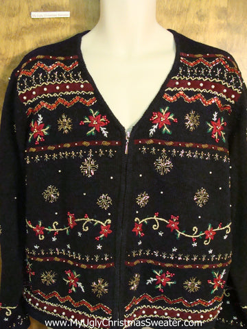 Cheap Poinsettias and Snowflakes Cute Xmas Sweater