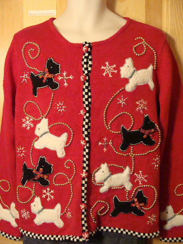 Tacky Ugly Christmas Sweater with Scotty Dogs and Bling (f447)