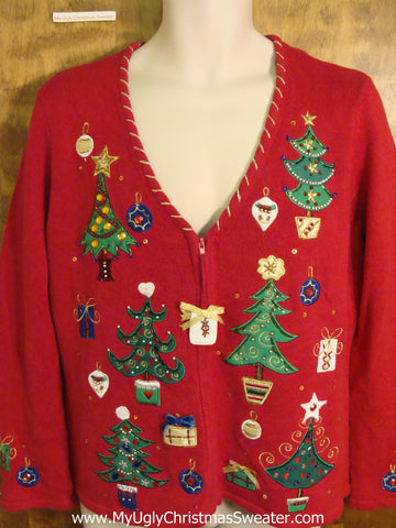 Cute Xmas Sweater with Bling Trees