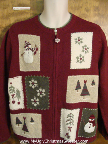 Cute Two Sided Xmas Sweater with Patches of Snowmen
