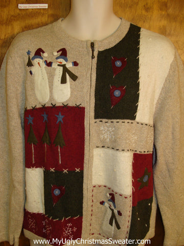 Cute 2sided Snowman Themed Xmas Sweater