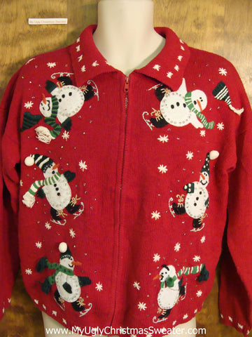 Ice Skating Snowmen Cute Xmas Sweater