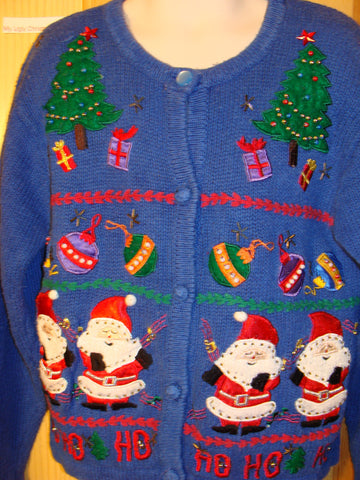 Tacky Ugly Christmas Sweater Child Size with Santas (f448)