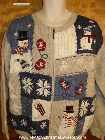 Cute Snowman and Mittens Themed Xmas Sweater