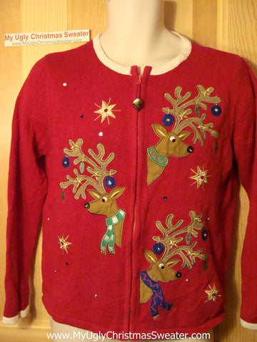 Tacky Ugly Christmas Sweater with Three Huge Peaking Reindeer with Sequins and a Real Jingle Bell (f44)