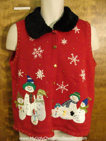 Bad Christmas Sweater Vest with Fluffy Collar