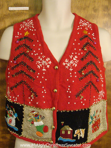 Short Sytle Festive Bad Christmas Sweater Vest