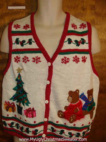 Tacky Bears and Tree Bad Christmas Sweater Vest