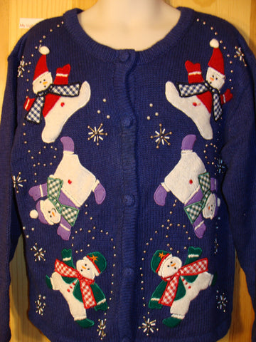 Tacky Ugly Christmas Sweater with Tumbling Snowmen (f450)
