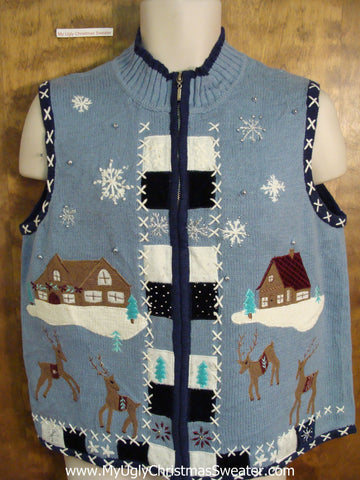 Cute Reindeer in the Country Christmas Sweater Vest