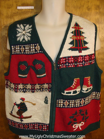 Bad Winter Sports Themed Christmas Sweater Vest